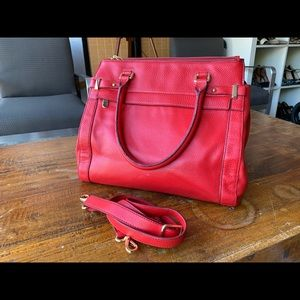 Lipstick red Banana Republic laptop shoulder bag